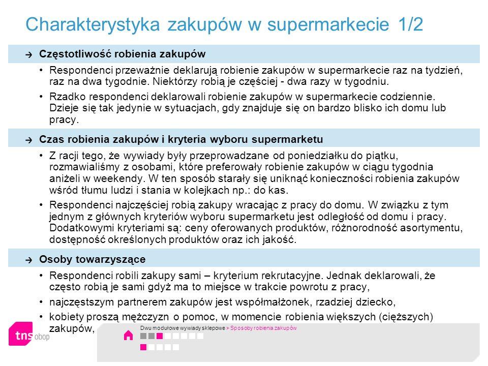 Charakterystyka zakupów w supermarkecie 1/2