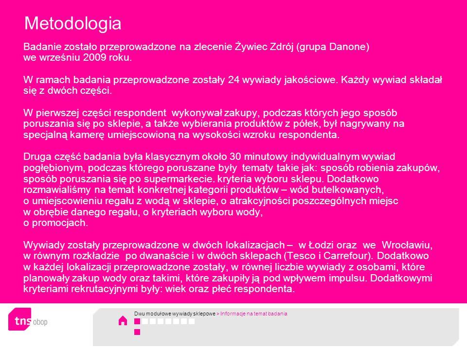 Metodologia Badanie zostało przeprowadzone na zlecenie Żywiec Zdrój (grupa Danone) we wrześniu 2009 roku.
