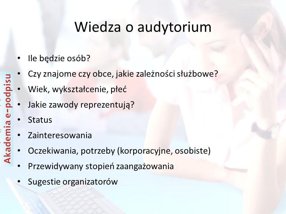 Wiedza o audytorium Ile będzie osób