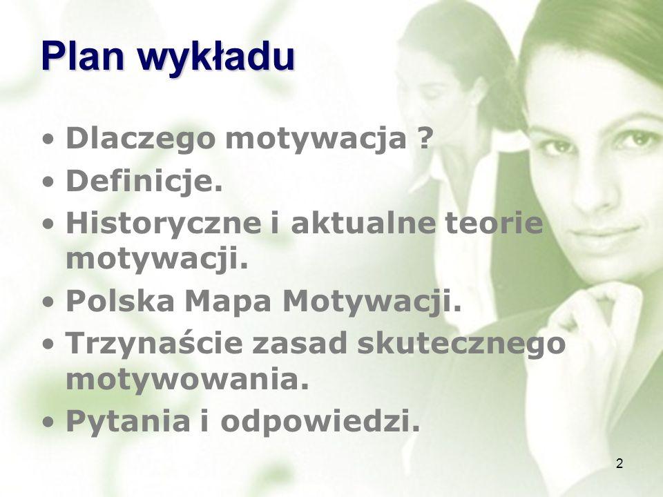 Plan wykładu Dlaczego motywacja Definicje. Historyczne i aktualne teorie motywacji. Polska Mapa Motywacji.