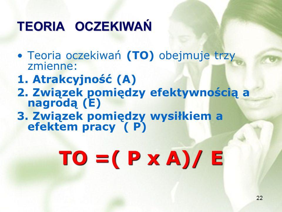 TO =( P x A)/ E TEORIA OCZEKIWAŃ