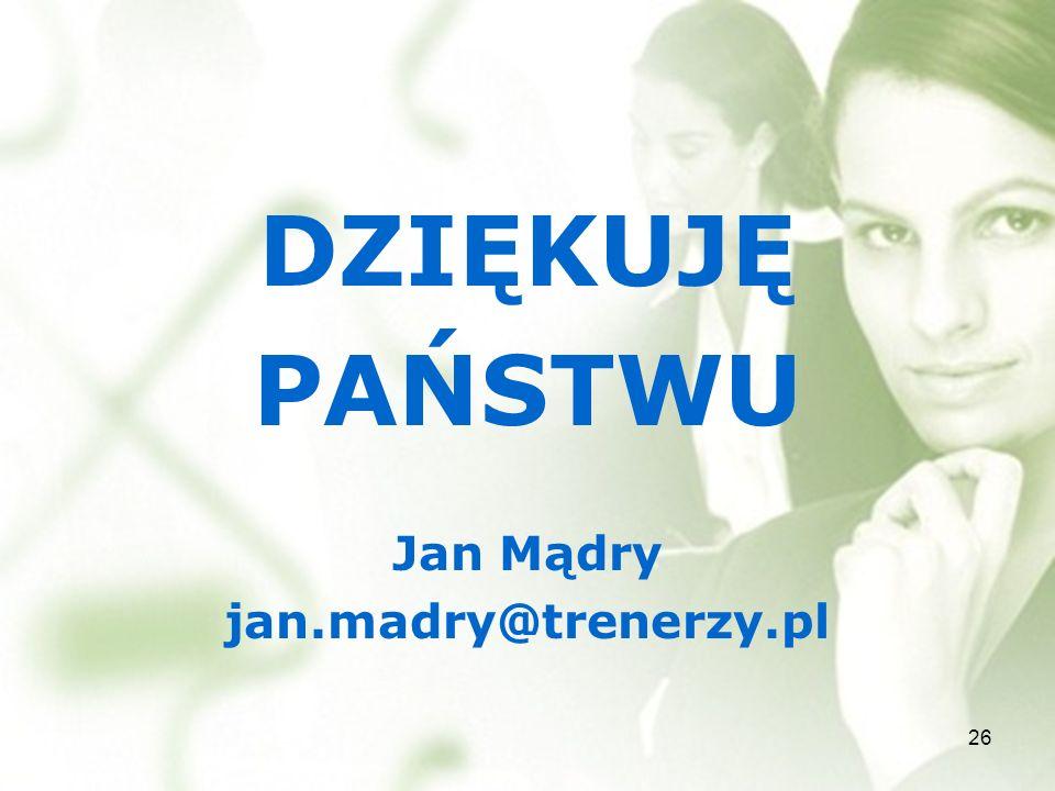 DZIĘKUJĘ PAŃSTWU Jan Mądry jan.madry@trenerzy.pl