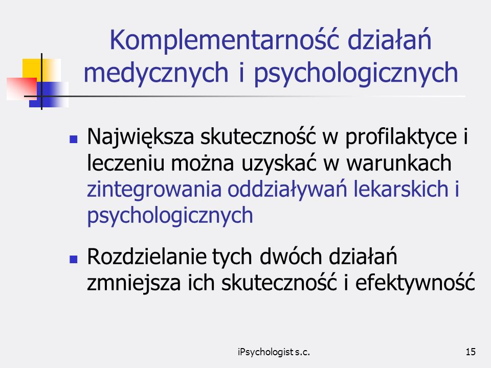 Komplementarność działań medycznych i psychologicznych