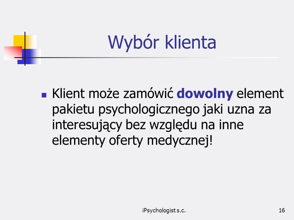 Wybór klienta Klient może zamówić dowolny element pakietu psychologicznego jaki uzna za interesujący bez względu na inne elementy oferty medycznej!