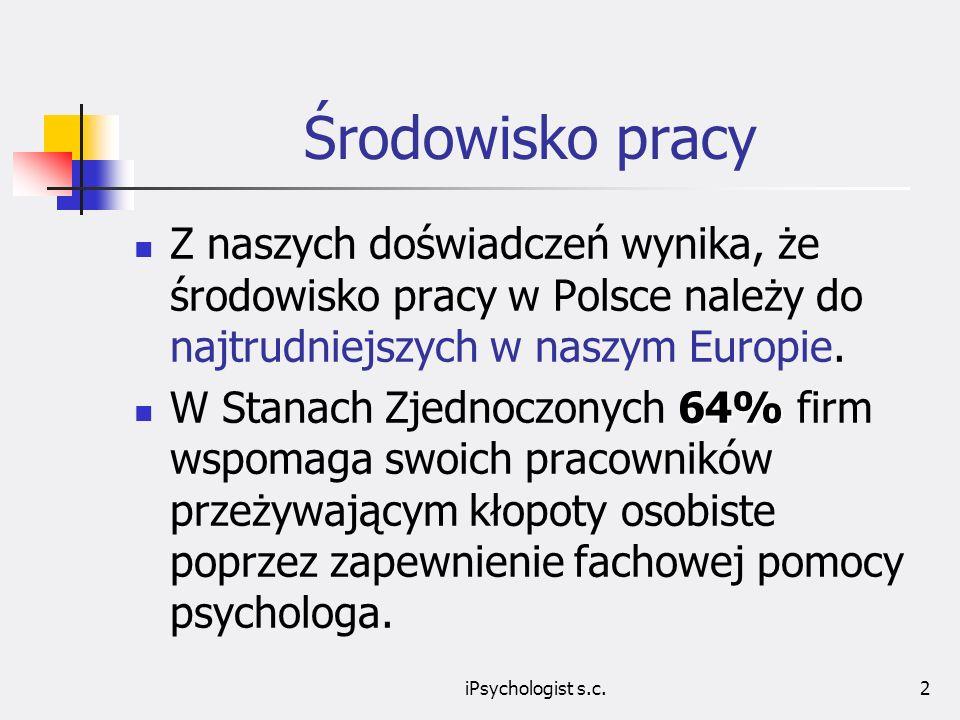 Środowisko pracy Z naszych doświadczeń wynika, że środowisko pracy w Polsce należy do najtrudniejszych w naszym Europie.