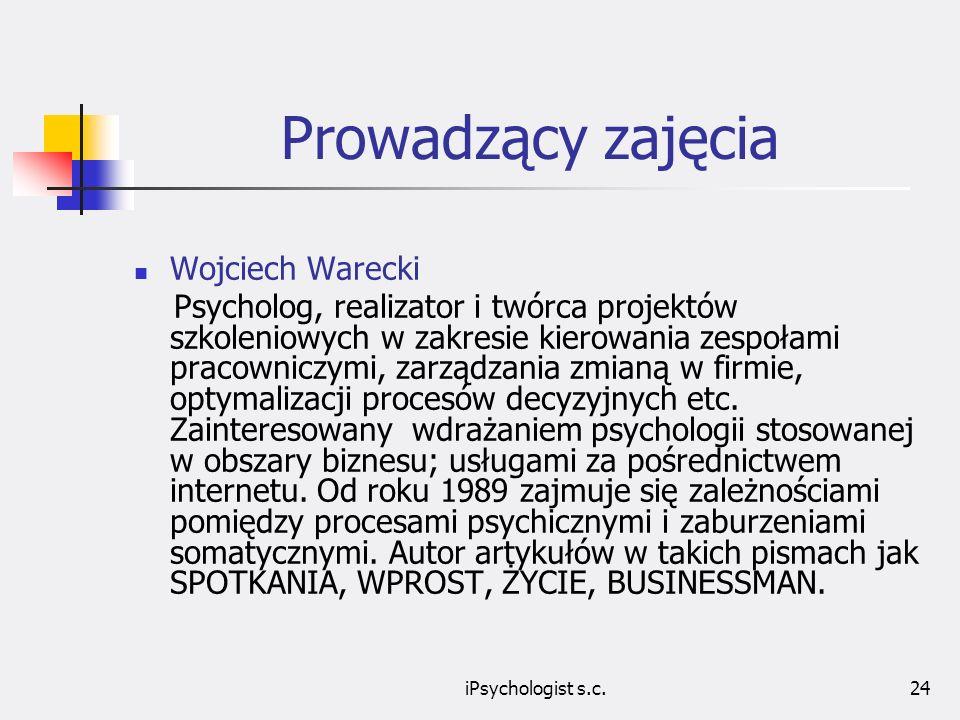 Prowadzący zajęcia Wojciech Warecki