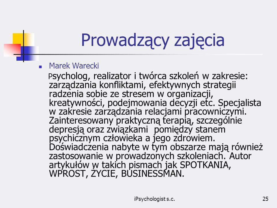 Prowadzący zajęcia Marek Warecki