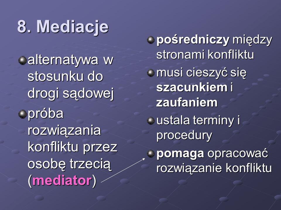 8. Mediacje alternatywa w stosunku do drogi sądowej