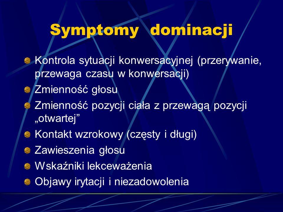 Symptomy dominacji Kontrola sytuacji konwersacyjnej (przerywanie, przewaga czasu w konwersacji) Zmienność głosu.