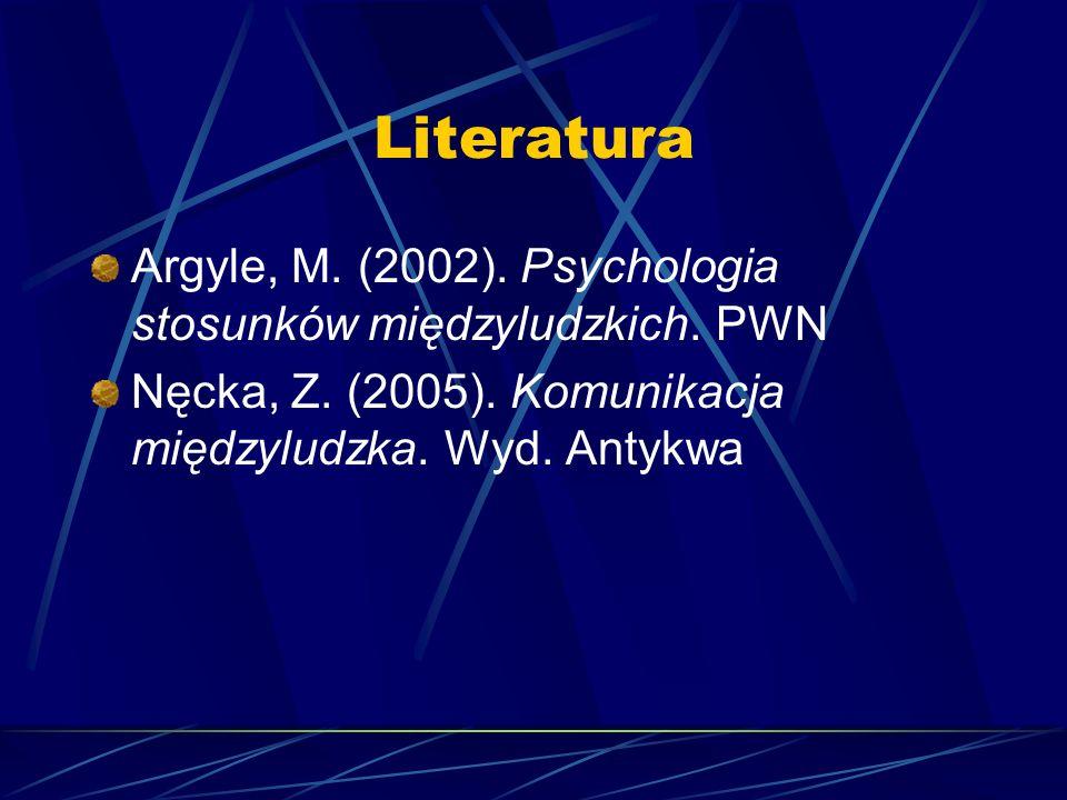 Literatura Argyle, M. (2002). Psychologia stosunków międzyludzkich.