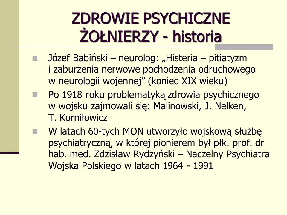 ZDROWIE PSYCHICZNE ŻOŁNIERZY - historia