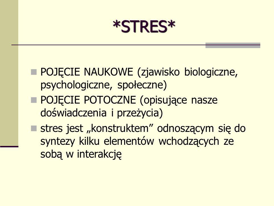 *STRES* POJĘCIE NAUKOWE (zjawisko biologiczne, psychologiczne, społeczne) POJĘCIE POTOCZNE (opisujące nasze doświadczenia i przeżycia)
