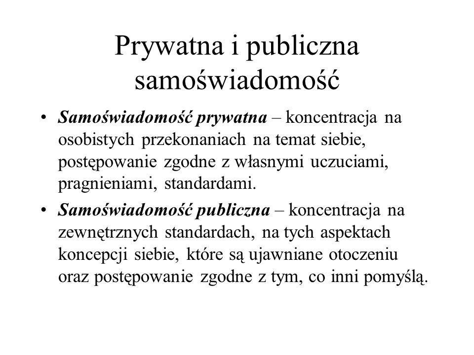 Prywatna i publiczna samoświadomość