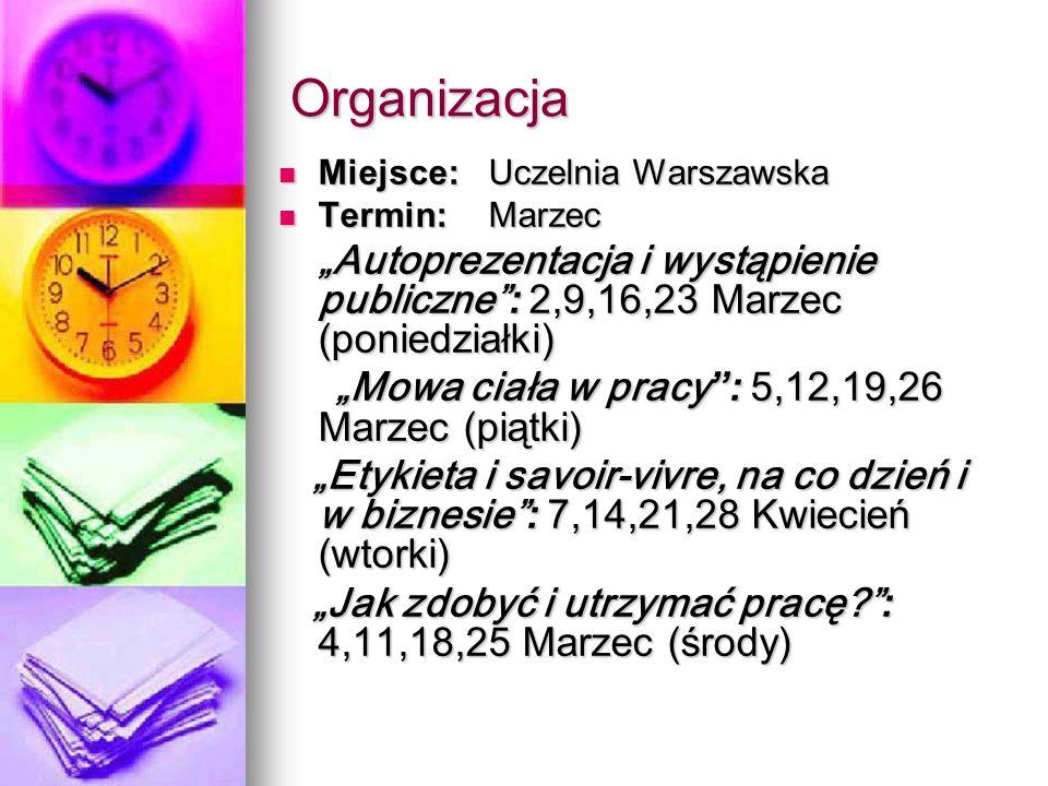 """Organizacja """"Mowa ciała w pracy : 5,12,19,26 Marzec (piątki)"""