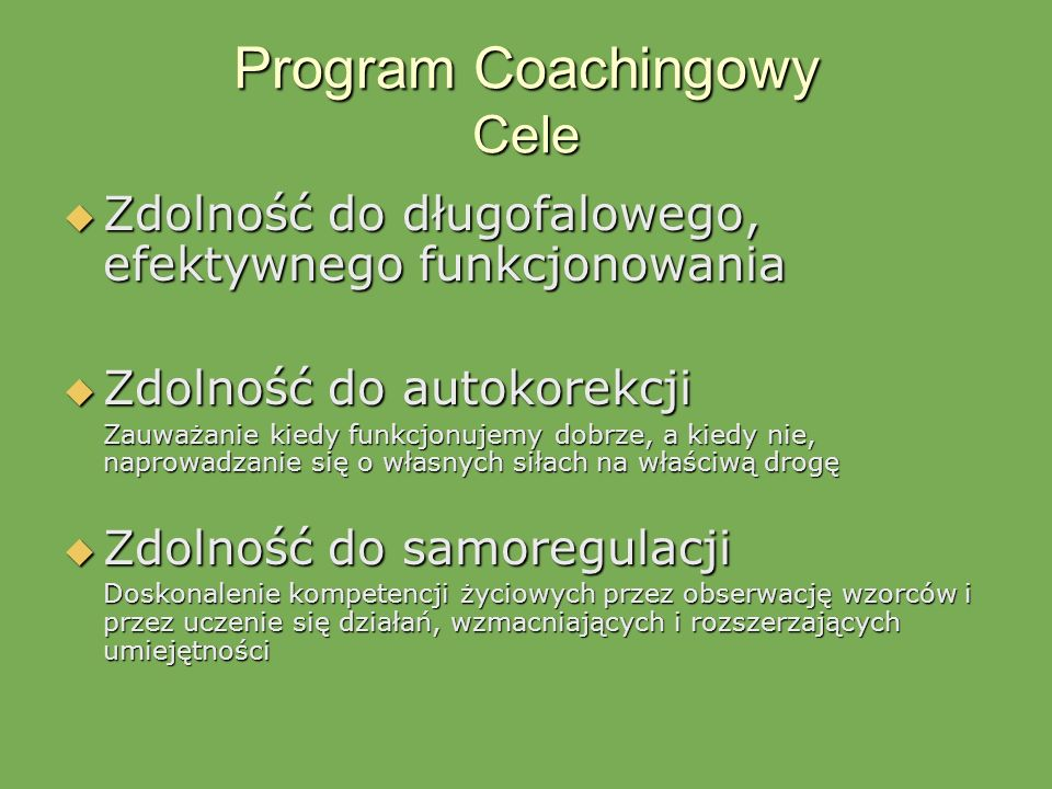 Program Coachingowy Cele
