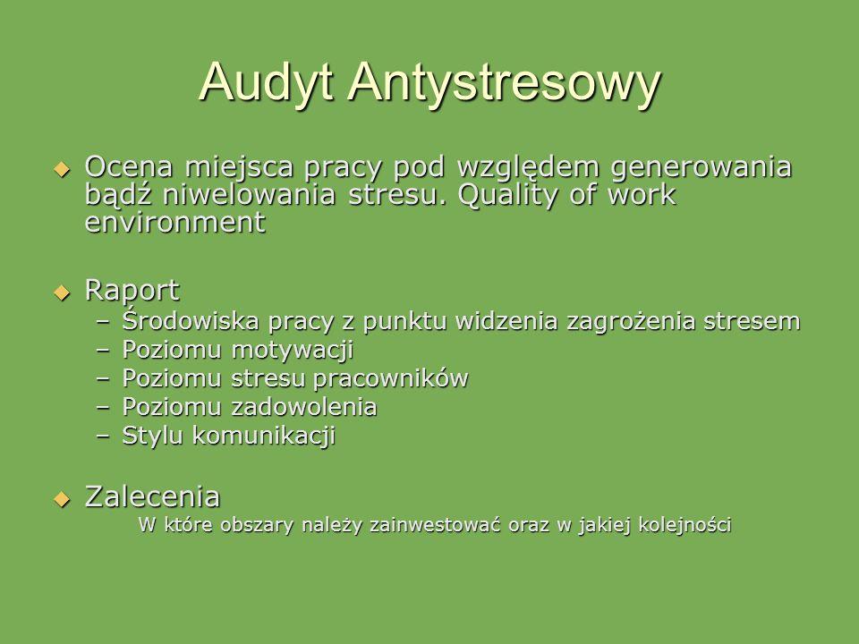 Audyt Antystresowy Ocena miejsca pracy pod względem generowania bądź niwelowania stresu. Quality of work environment.