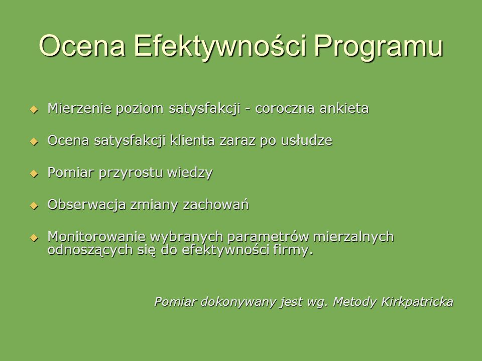 Ocena Efektywności Programu