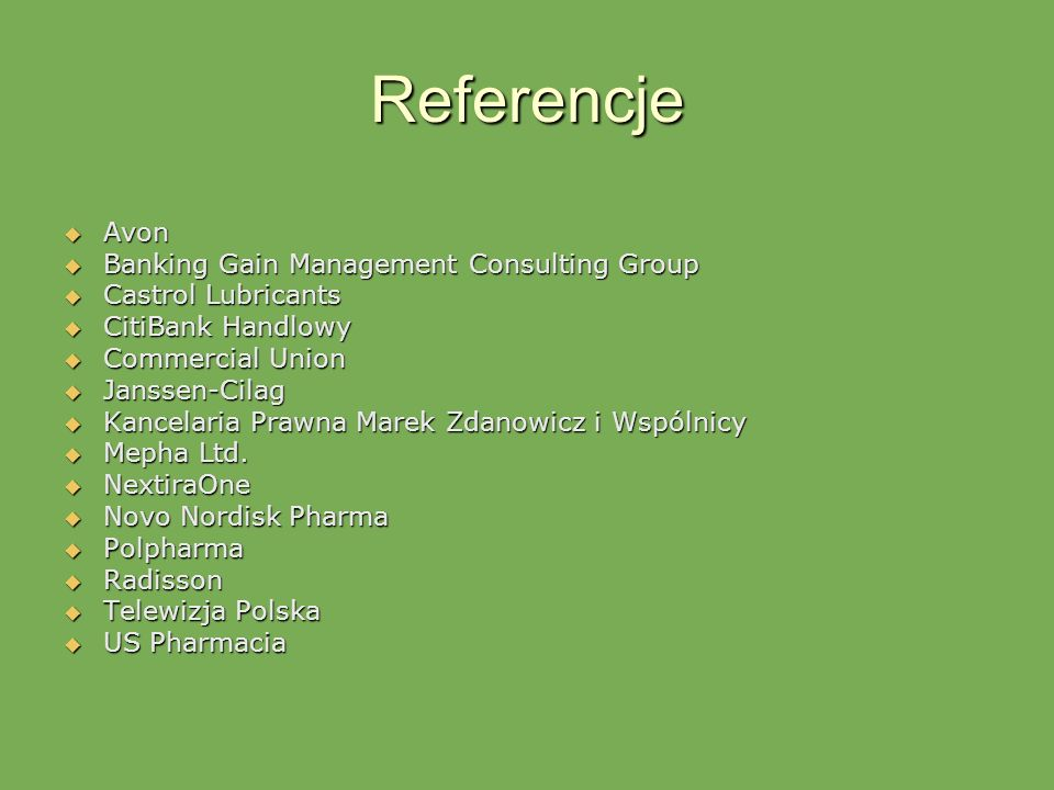 Referencje Avon Banking Gain Management Consulting Group
