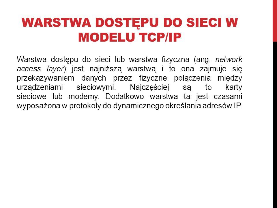 Warstwa dostępu do sieci w Modelu TCP/IP