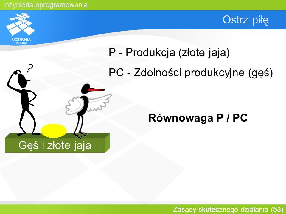 P - Produkcja (złote jaja) PC - Zdolności produkcyjne (gęś)