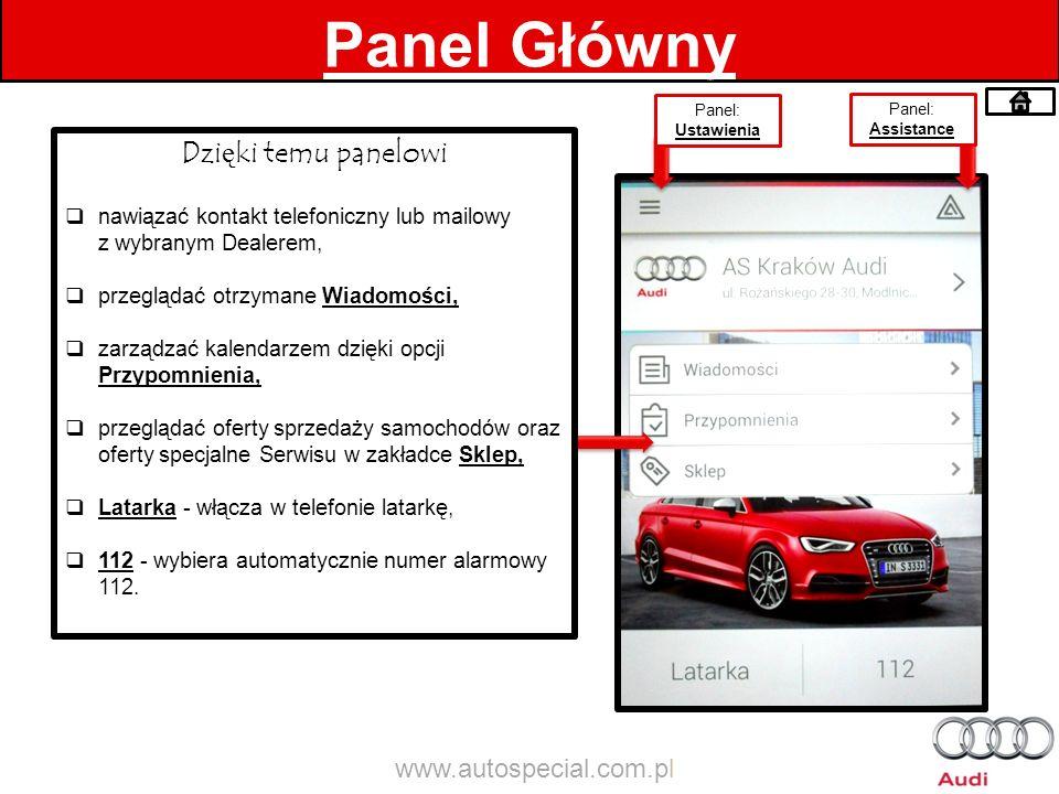 Panel Główny Dzięki temu panelowi www.autospecial.com.pl