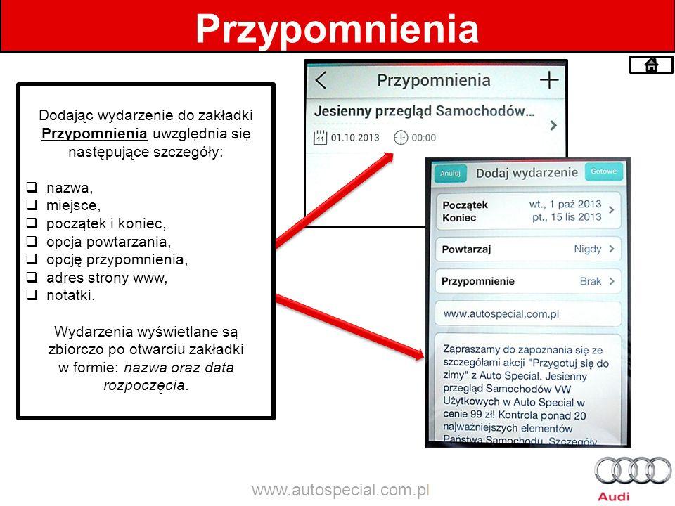 Przypomnienia www.autospecial.com.pl