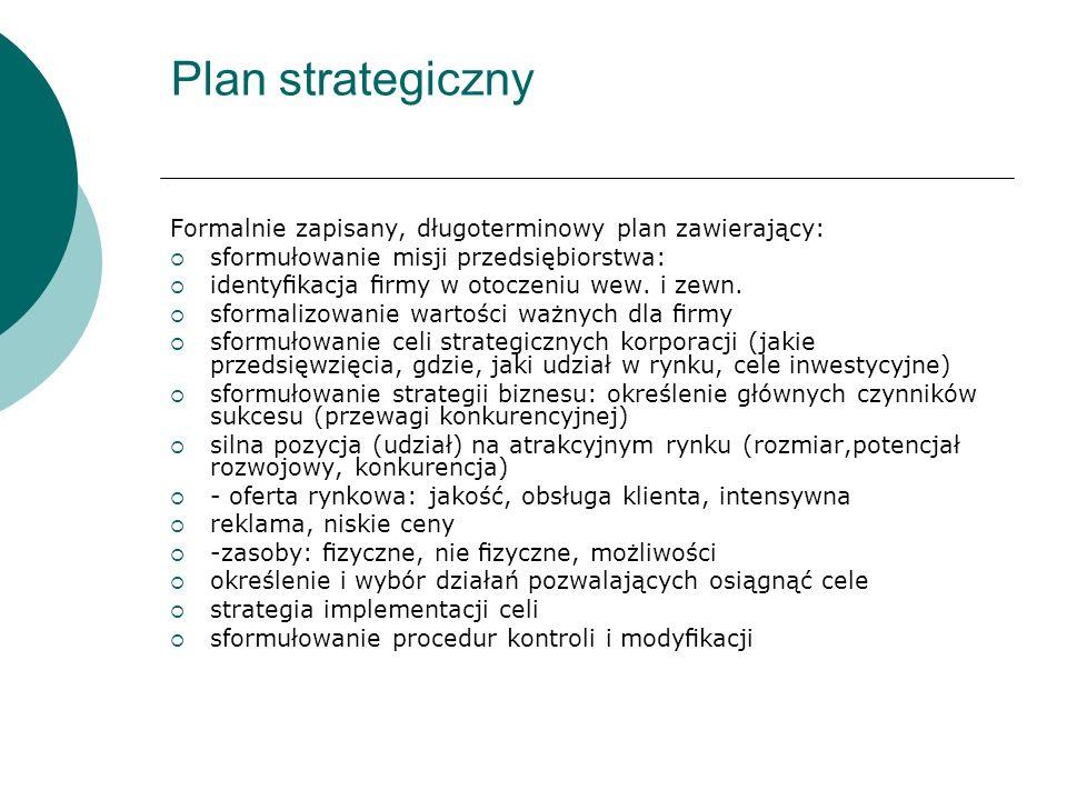 Plan strategiczny Formalnie zapisany, długoterminowy plan zawierający: