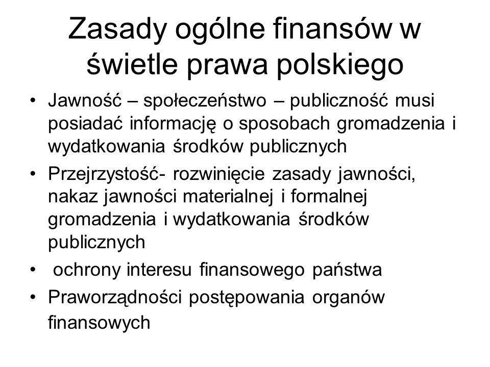 Zasady ogólne finansów w świetle prawa polskiego