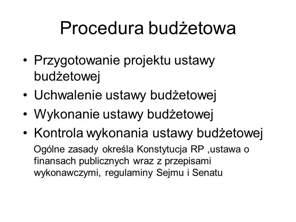 Procedura budżetowa Przygotowanie projektu ustawy budżetowej