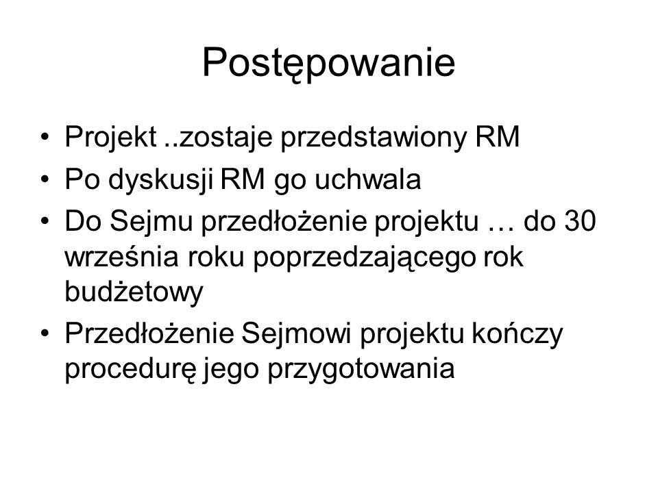 Postępowanie Projekt ..zostaje przedstawiony RM