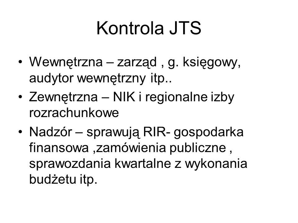 Kontrola JTS Wewnętrzna – zarząd , g. księgowy, audytor wewnętrzny itp.. Zewnętrzna – NIK i regionalne izby rozrachunkowe.