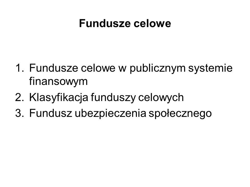 Fundusze celowe Fundusze celowe w publicznym systemie finansowym. Klasyfikacja funduszy celowych.