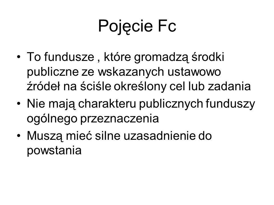 Pojęcie Fc To fundusze , które gromadzą środki publiczne ze wskazanych ustawowo źródeł na ściśle określony cel lub zadania.