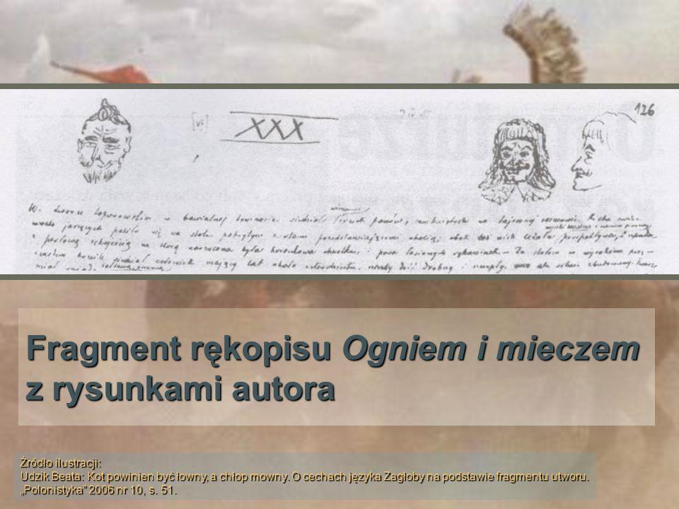 Fragment rękopisu Ogniem i mieczem z rysunkami autora