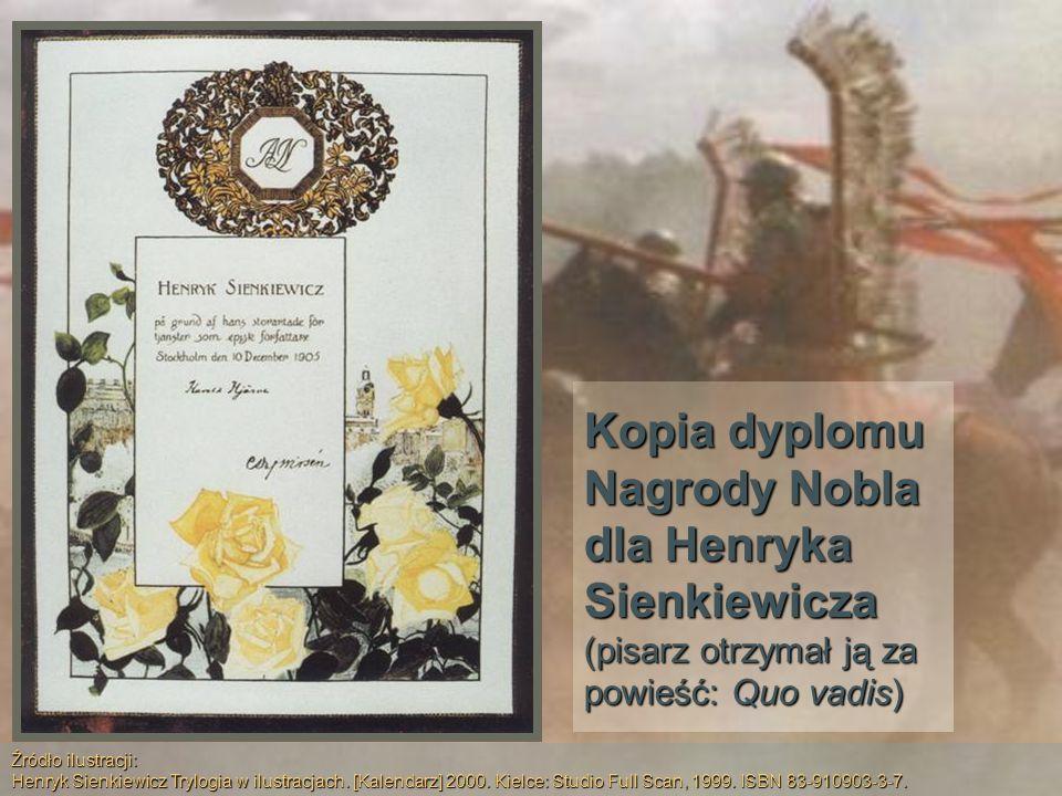 Kopia dyplomu Nagrody Nobla dla Henryka Sienkiewicza (pisarz otrzymał ją za powieść: Quo vadis)