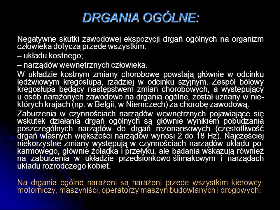 DRGANIA OGÓLNE: Negatywne skutki zawodowej ekspozycji drgań ogólnych na organizm człowieka dotyczą przede wszystkim:
