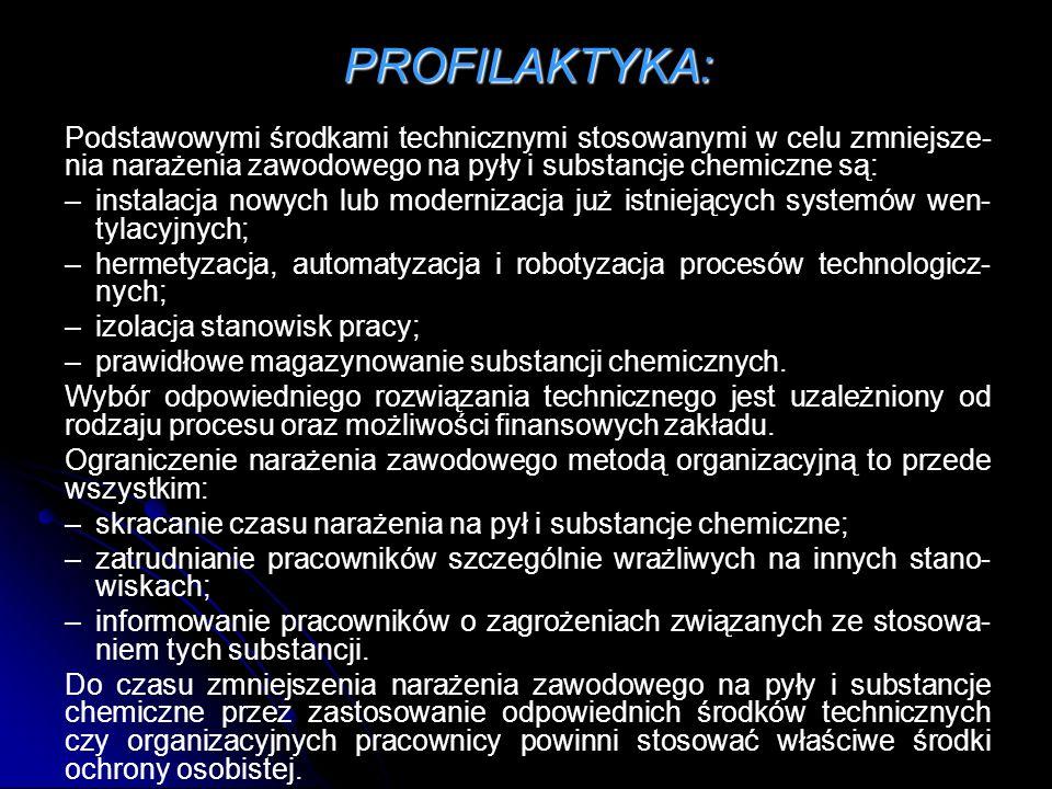 PROFILAKTYKA: Podstawowymi środkami technicznymi stosowanymi w celu zmniejsze-nia narażenia zawodowego na pyły i substancje chemiczne są: