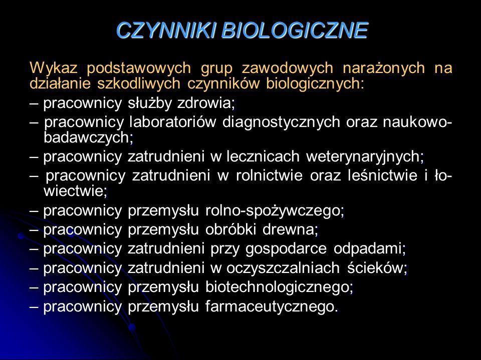 CZYNNIKI BIOLOGICZNE Wykaz podstawowych grup zawodowych narażonych na działanie szkodliwych czynników biologicznych: