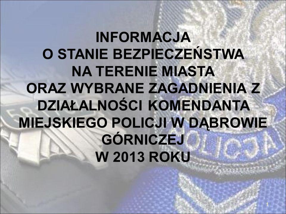INFORMACJA O STANIE BEZPIECZEŃSTWA NA TERENIE MIASTA ORAZ WYBRANE ZAGADNIENIA Z DZIAŁALNOŚCI KOMENDANTA MIEJSKIEGO POLICJI W DĄBROWIE GÓRNICZEJ W 2013 ROKU