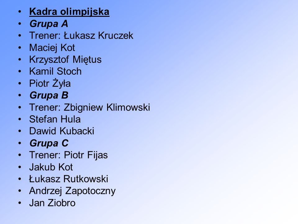 Kadra olimpijska Grupa A. Trener: Łukasz Kruczek. Maciej Kot. Krzysztof Miętus. Kamil Stoch. Piotr Żyła.
