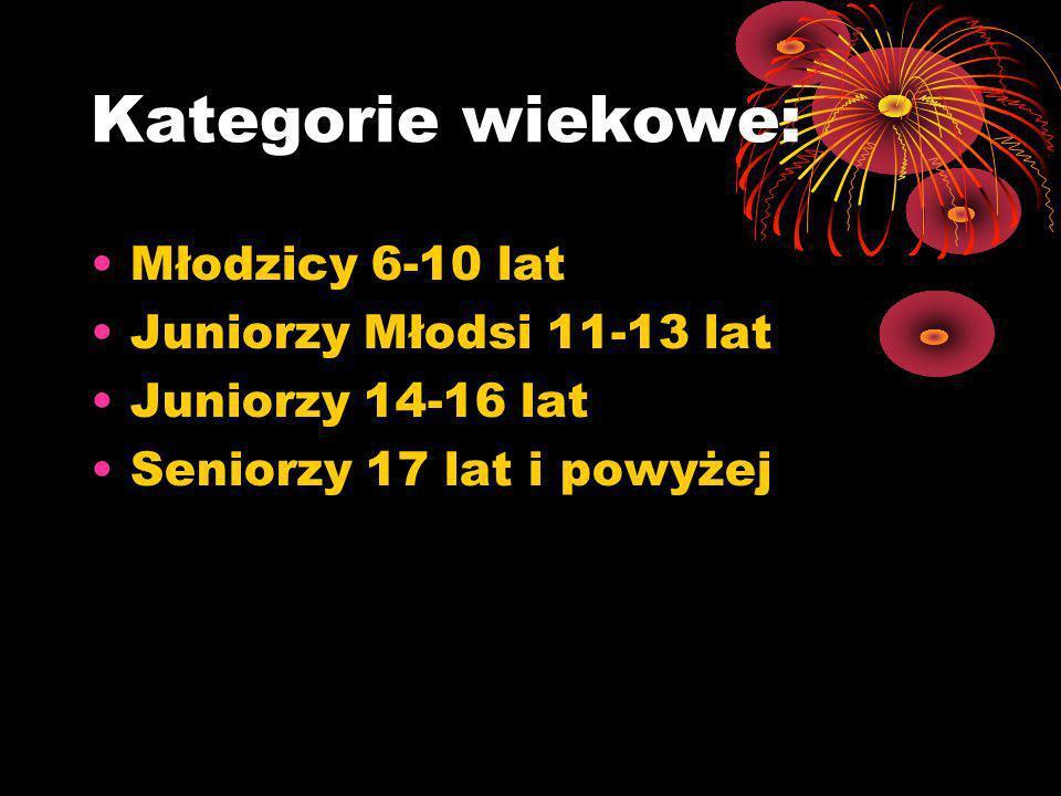 Kategorie wiekowe: Młodzicy 6-10 lat Juniorzy Młodsi 11-13 lat
