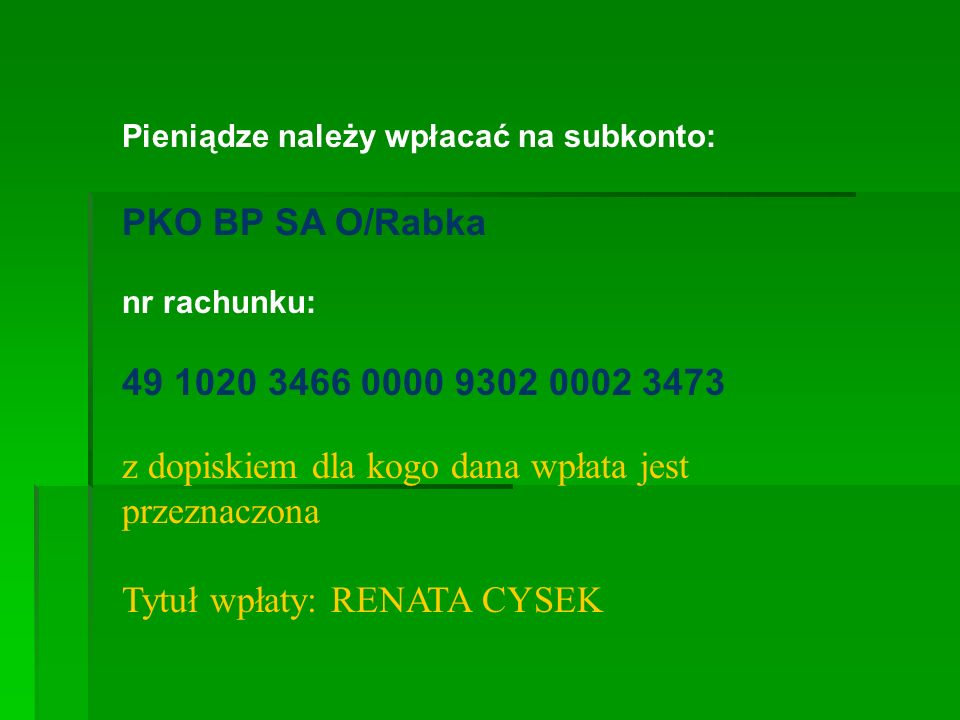 Tytuł wpłaty: RENATA CYSEK