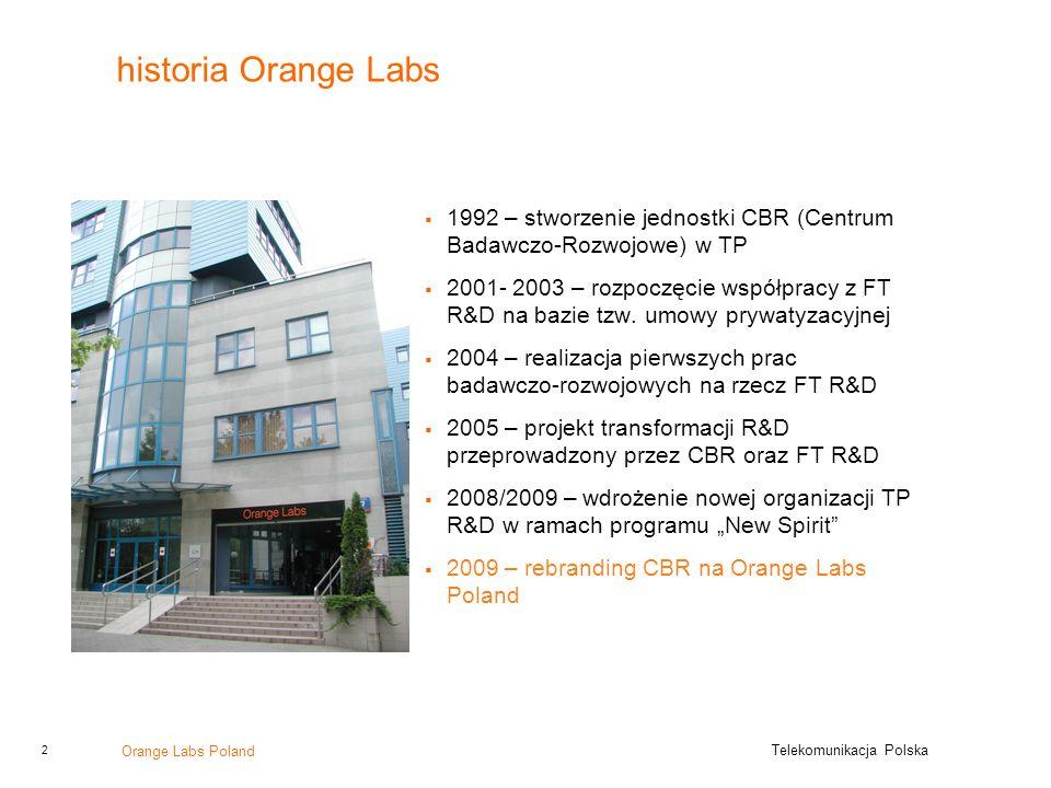 historia Orange Labs 1992 – stworzenie jednostki CBR (Centrum Badawczo-Rozwojowe) w TP.