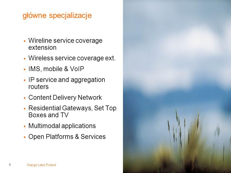główne specjalizacje Wireline service coverage extension