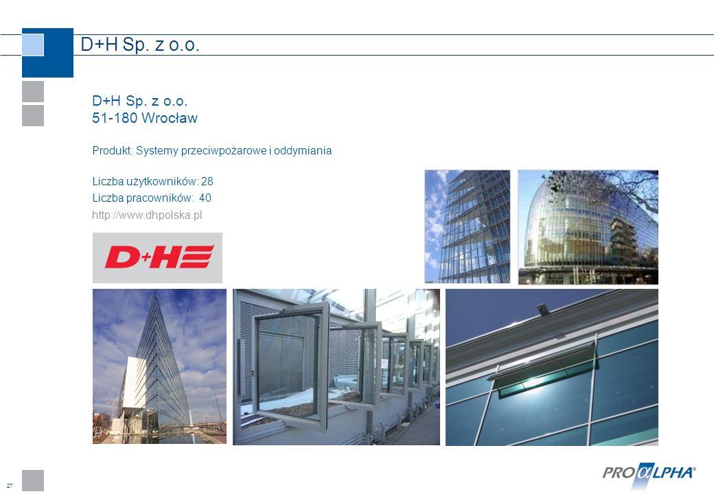 D+H Sp. z o.o. D+H Sp. z o.o. 51-180 Wrocław