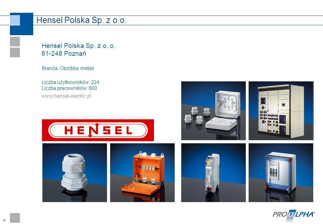 Hensel Polska Sp. z o.o. Hensel Polska Sp. z o. o. 61-248 Poznań Branża: Obróbka metali. Liczba użytkowników: 224 Liczba pracowników: 600.