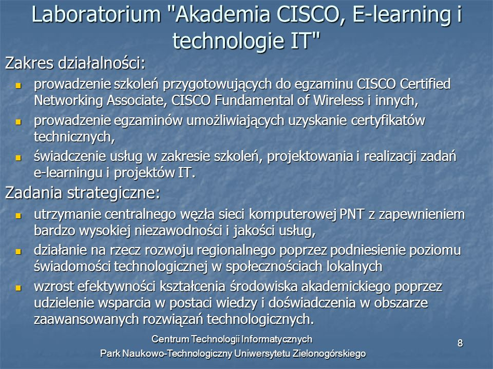 Laboratorium Akademia CISCO, E-learning i technologie IT