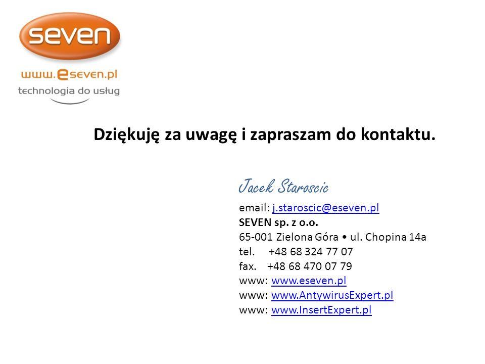 Jacek Staroscic Dziękuję za uwagę i zapraszam do kontaktu.