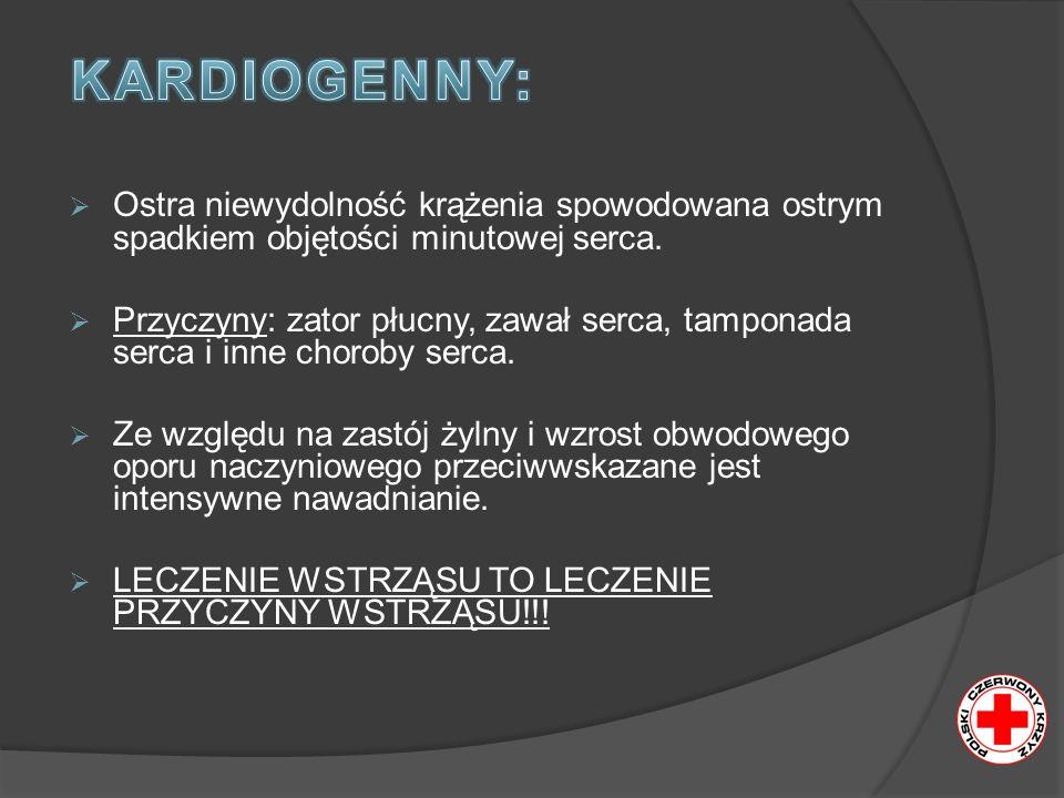 KARDIOGENNY: Ostra niewydolność krążenia spowodowana ostrym spadkiem objętości minutowej serca.