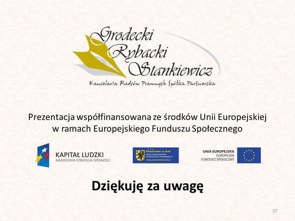 Prezentacja współfinansowana ze środków Unii Europejskiej w ramach Europejskiego Funduszu Społecznego